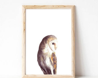 home decor, owl, art prints, barn owl, woodland wall art, wall art, prints, minimalist print, woodland nursery, nursery art