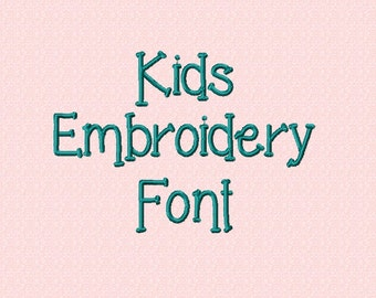 1 Inch - Kids Embroidery Font - INSTANT DOWNLOAD - Capitals Lowercase Numbers