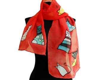 Hand painted silk scarf. Red scarf with cats. Painted long scarf. Cat scarf hand painted. Cat lover gift. Cats shawl. Art women gift.