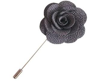 Gray Lapel Pin Grey Wedding Boutonniere Flower Lapel Pin Mens Lapel Pin Groomsmen Boutonniere Flower Groomsman Lapel Pin Charcoal Slate