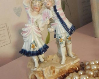 Georgian couple figurine, Mr and Mrs white porcelain ornament, hand painted figure, home gift, collectible, vintage home decor.