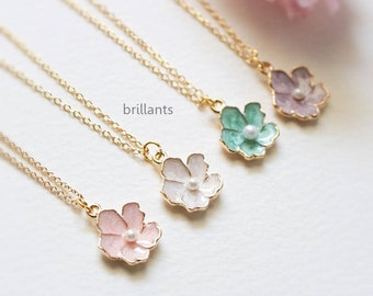 Cherry blossom necklace in gold, Pink, Mint, Purple, White, Sakura necklace, Pearl necklace, Birdesmaid necklace, Wedding necklace