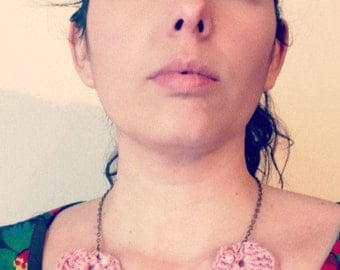 Crochet necklace with bead applications, shabby chic collar