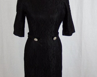 Black 1960's Vintage Carol Brent Dress - Lace Overlay and Fully Lined with Pockets