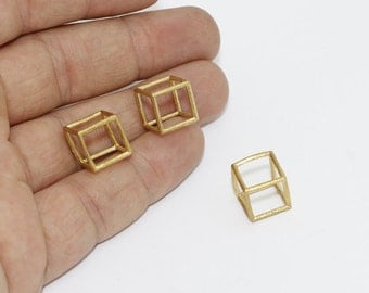 1 Pcs 12mm Raw Brass Cube Pendant, Raw Brass Cube Necklace, Open Cube Beads, SOM48