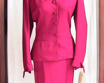 1950s Two Piece Burgundy Suit