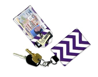 Purple Chevron Mini Wallet Card Holder Keychain Clear ID Holder Small Wallet ID Wallet Minimalist Wallet Student ID Badge Credit Card Wallet