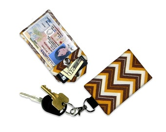 Brown Gold Chevron Mini Wallet Card Holder Keychain Clear ID Holder Small Wallet ID Wallet Minimalist Wallet Student ID Badge Credit Card