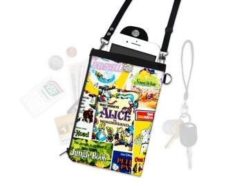 Disney Alice in Wonderland Movie Poster Crossbody Bag Phone Case Wallet Travel Wallet iPhone Samsung Vacation Crossbody Purse Adjustable