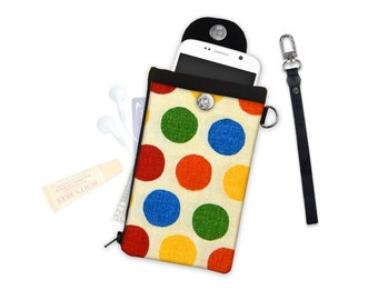 Large Polka Dot Clutch or Crossbody ID Wallet Phone Case Wallet Travel Wallet iPhone Samsung Crossbody Bag Adjustable Strap Polka Dot Wallet