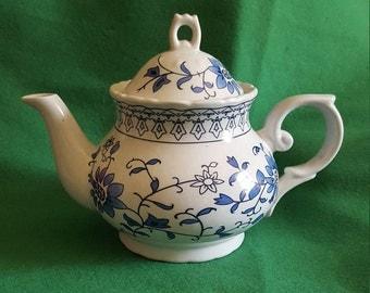 Delightful Vintage Porcelain Blue and White Teapot