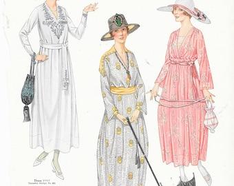 Antique Fashion Illustrations 1917 McCalls Magazine Dresses Hats Parasols Gift for fashion Student