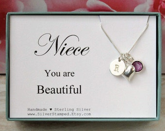 Gift For Niece Necklace Sterling Silver Birthstone You Are Beautiful Birthday From Aunt Initial