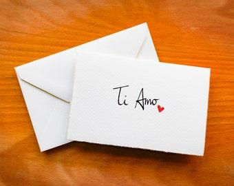 Language of Love Card - Italian Valentine's Day Card, Carta di San Valentino, handmade, calligraphy