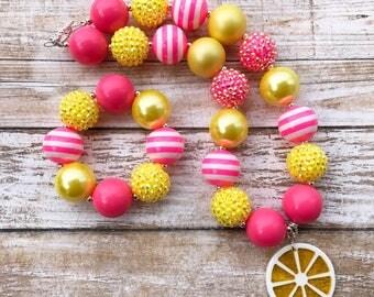 Lemon Bubblegum Necklace, Pink Lemonade Party, Pink and Yellow Lemon Necklace, Lemonade Necklace, Lemonade Birthday, Lemon Jewelry
