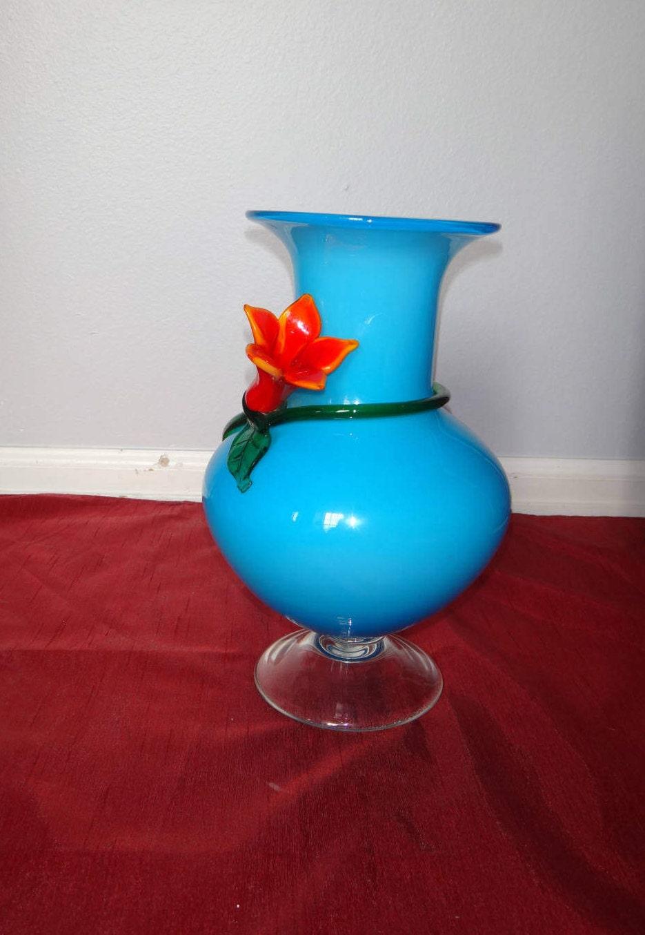 Vintage Hand Blown Gl Vase/ Blue Gl Vase with Red and Orange ... on ve flower, dz flower, mn flower, sc flower, sd flower, uk flower, ls flower, va flower, na flower, ca flower, pa flower, vi flower,