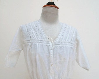 Victorian Inspired Women's Corset Cover | made from Vintage French lace and 100% white cotton | women's clothing chemise, blouse, camisole