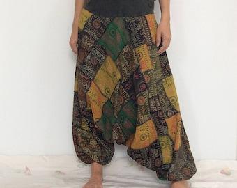 Super Patchworks Hippie Harem Pants, Yoga Pants, Drop Crotch Pants, Baggy Pants with Om patterned (HR-521)