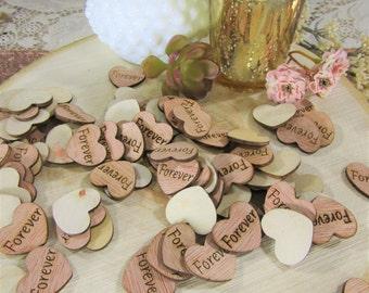 """100 """"Forever"""" Hearts ~ 1"""" Wood Hearts ~ Wedding Decor ~ Wedding Confetti ~ Wooden Confetti ~ Wedding Invitations ~ Summer Wedding"""