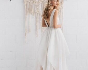 Wedding Dress Pastel Champagne Ivory Nude Bridal V Neckline Open Back