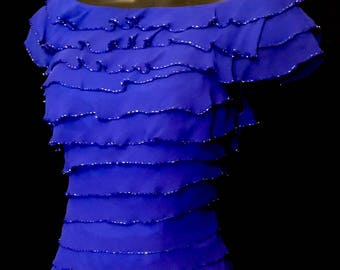 Layered Royal Blue Silk Gown            VG313