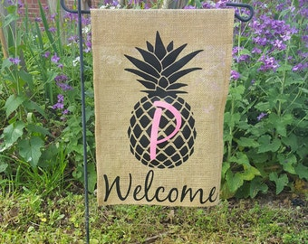 High Quality Free Shipping Pineapple Initial Monogrammed Personalized Welcome Burlap Garden  Flag