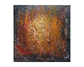 Small abstract black gold painting Brown orange copper Palette knife Textured Home decor wall art Modern Original canvas Artwork Gift men