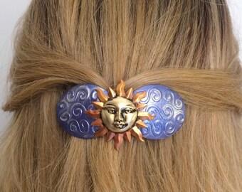 Boho Hair Barrette, Sun Celestial French barrette, Sky blue and Sunshine Hair barrette
