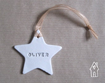 Personalised Star Decoration, Personalized Star Gift Tag, Name Clay Star, Wedding Favours, Nursery Decor, White Clay Star, Old Flour House