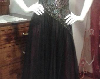 RARE PUSZTA 1980 velvet and chiffon dress