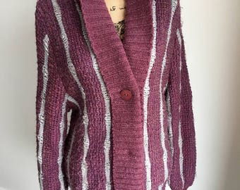 Vintage Cardigan Sweater.Oversized.Purple.Grey.Festival