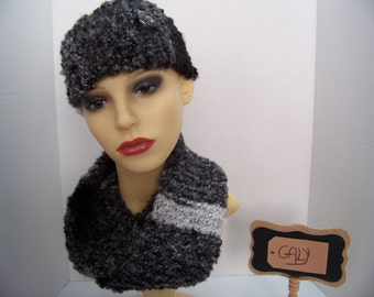 Headband and scarf (snood)(Noir-Gris-Blanc) big button # 10
