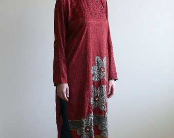 red silky beaded flower china dress / mandarin dress / chinese dress