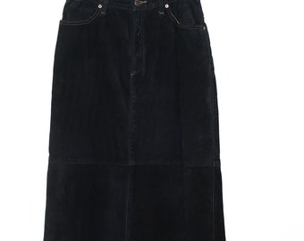 Vintage Clothing • Long Suede Black Maxi Skirt •Suede Leather • Skotts Montreal •Washable Suede
