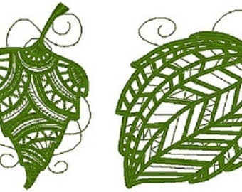 Lacy Leaves Machine Embroidery Designs 6x10 Hoop
