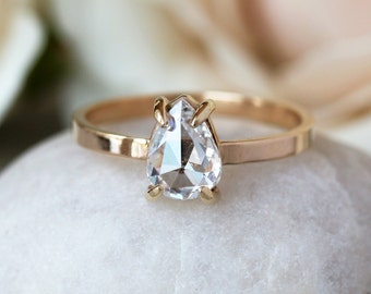 Pear Shaped Diamond Engagement Ring, Rose Cut Diamond Ring, One Carat White Diamond, 14k Yellow Gold Engagement Band, Conflict Free