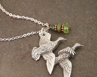 Flying Ducks and Gemstone Necklace
