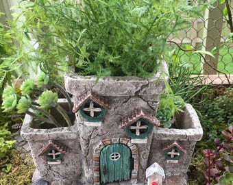 "Fairy House Planter, ""Potter's Place"" With Hinged Door, Fairy Garden Accessory, Miniature Gardening, Home & Garden Decor"