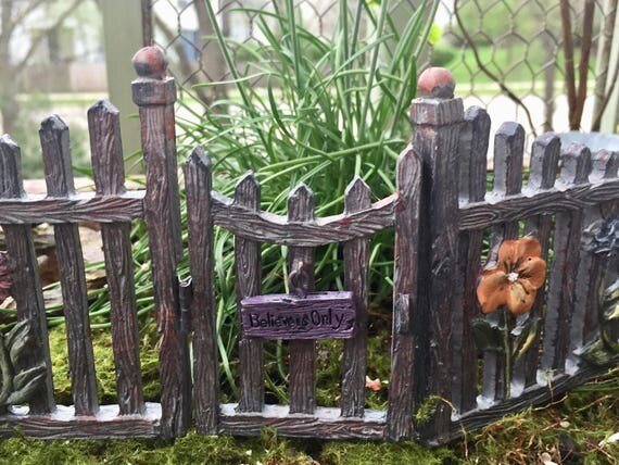 Miniature Fairy Gate and Fence, Hinged Door With Welcome Sign, Fairy Garden Accessory, Garden Decor, Miniature Gardening