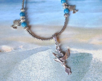 Fishing Boat Necklace/ Blue and Silver Summer Necklace/Silver Fishing Charms/Fishing Necklace/Pewter Glass Beads/Fish Charms