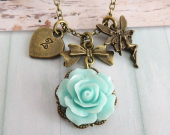 Personalized fairy necklace, blue rose necklace, initial necklace, flower jewelry, gift for her, rustic bronze jewelry, fairies