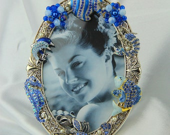 Jeweled Silver, Rhinestone, Crystal, Sapphire Blue Picture Frame, Ocean, Sealife Themed, All Occasion Gift