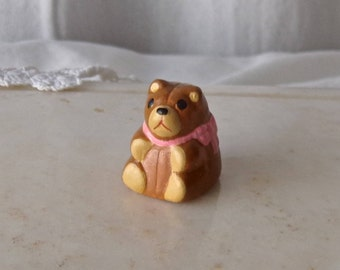 Vintage Thimble Teddy Bear Pink Bow Signed Thimble Collector Sewing Room 1980s