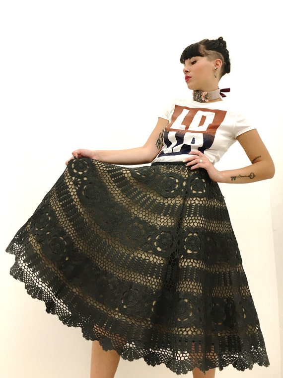 Double Poodle Skirt, Crochet Lace, Black, Leather Effect LOLA DARLING, Canvas Jute, Satin Black, Material Recovery, Hand made in Italy
