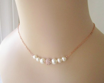 Rose Gold Bridesmaid Necklace,Set Of 6 Pearl Necklaces,Rose Gold Pearl Necklace, Floating Pearl Necklace, Six Bridesmaid Necklace, Swarovski
