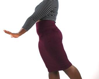Pencil Skirt, Midi Skirt, Pinup Skirt, wiggle skirt, Red Skirt, high waisted skirt Pull on Skirt Pinup clothing Burgundy skirt retro skirt