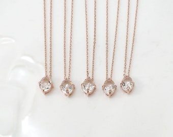 Bridesmaid gifts - Set of 4, 5, 6 - Clear crystal necklace, rose gold necklace, stone in bezel, wedding jewelry
