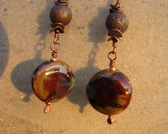 Copper and Glazed Puffy Discs Earrings