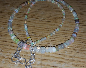"43.90cts Mixed Assortment of Clear, Milky, Dark and White ETHIOPIAN OPAL Smooth Rondelle Beads 19"" Necklace"