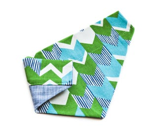 Aqua Chevron Pet Bandana - Green Canvas Reversible Denim Chambray Monogram Greenery Striped Turquoise Pet Scarf Neckerchief